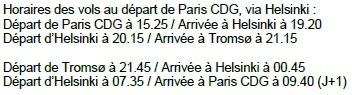 Finnair : vols entre Paris-CDG et Tromsø du 1er janvier au 28 mars 2014
