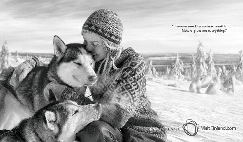 Une des vidéos virales de la campagne mettra en scène la guide husky Tinja Myllykangas - DR