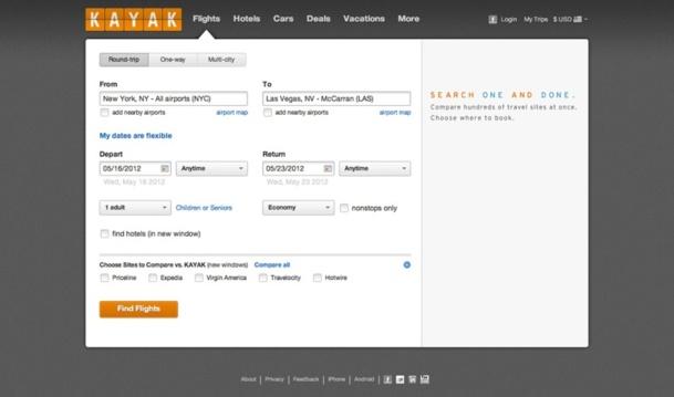 Kayak est rémunéré quand un visiteur effectue une réservation sur le site de l'un de ses partenaires - Capture d'écran