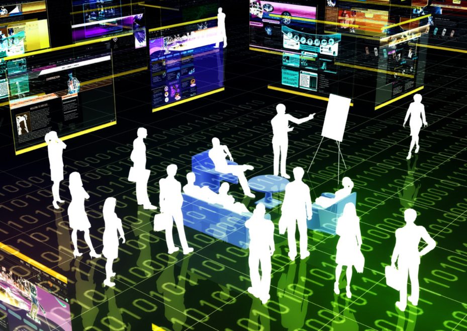 Les technologies des événements virtuels 3D permettent au visiteur d'entrer dans la vitrine de votre entreprise et d'y obtenir ses renseignements. Crédit : ©Nmedia-Fotolia.com