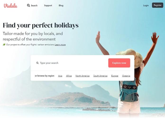 """Vialala s'est """"dédoublé"""" en lançant un portail anglophone afin d'attirer de nouveaux clients internationaux. Il contient une centaine d'offres dédiées à la France - DR : Vialala.com"""