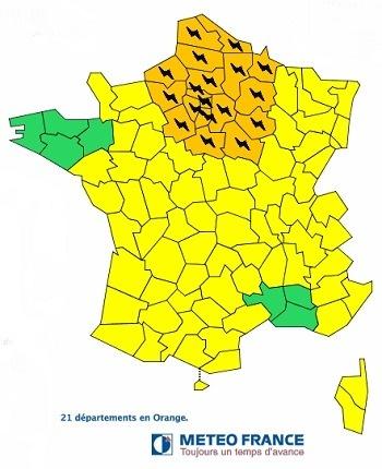 21 départements français sont placés en vigilance orange aux oranges - Météo France