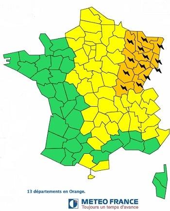 13 départements en vigilance orange aux orages - Météo France