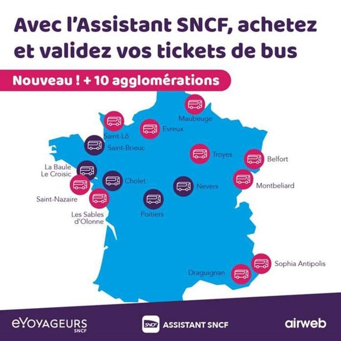L'Assistant SNCF développée par e.Voyageurs SNCF continue d'enrichir son offre de billets dématérialisés pour les réseaux de transport en commun avec 10 nouvelles agglomérations - DR