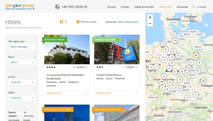 Get Your Group : Exemple de couverture d'hôtels en Allemagne - Capture écran