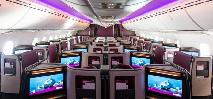 La nouvelle suite Adient Ascent Business Class est disposée en épi, dans une configuration 1-2-1 - DR : Qatar Airways