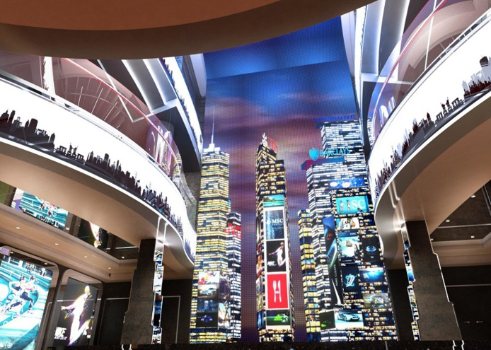 """Le MSC Seashore rendra hommage à la ville de New York avec une zone de boutiques et de divertissement, nommée """"Times Square"""", et un mur de diodes électroluminescentes de 8,5 mètres de haut s'étendant sur quatre ponts - DR : MSC Croisières"""