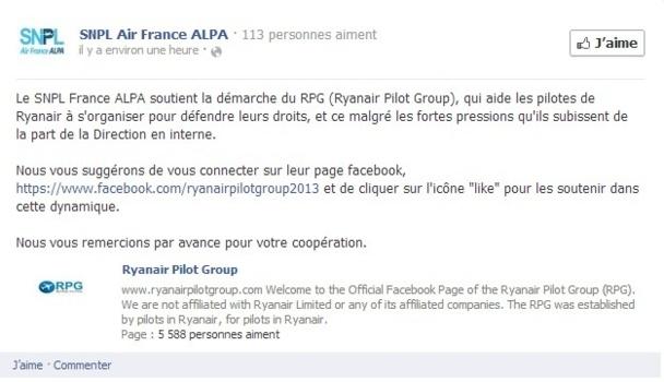 Le SNPL France Alpa apporte son soutien au RPG via un message posté sur Facebook - Capture d'écran