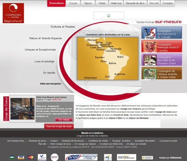 Compagnies du Monde est un TO spécialisé dans les voyages sur-mesure vendus en direct - Capture d'écran