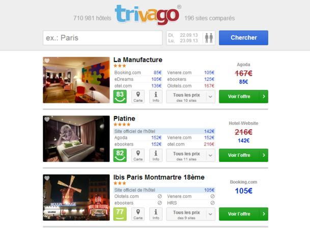 Trivago, comparateur en ligne, redirige ses visiteurs vers des agences de voyages en ligne - Capture d'écran