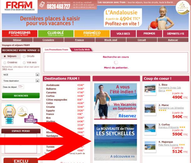 Le site B2C de FRAM met en avant la nouvelle destination de l'hiver - Capture d'écran