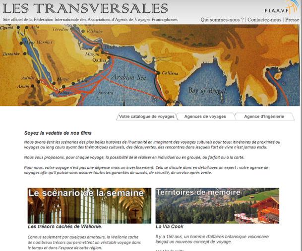 LesTransversales.org sera la plateforme sur laquelle seront regroupées les agences de voyages francophones adhérentes à la FIAAVF - Capture d'écran