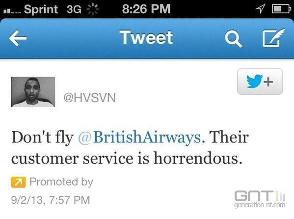 British Airways : un passager mécontent achète un tweet sponsorisé pour se plaindre
