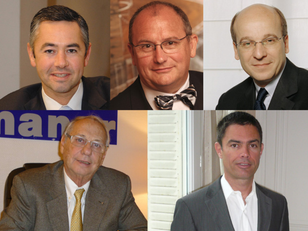 Sur le marché du voyage d'affaires, la concurrence se joue beaucoup moins entre le « on » et le « off line », entre les agences et les OTA, que sur la capacité des acteurs à coordonner vite et de façon proactive l'ensemble des outils, des processus, des transactions et des services au clients. De G. à D. : Éric Audouin AMEX, Régis Chambert Avexia, Richard Vainopoulos Tourcom, Jean Korcia Manor, et  Marc Leidelinger FFTP - DR