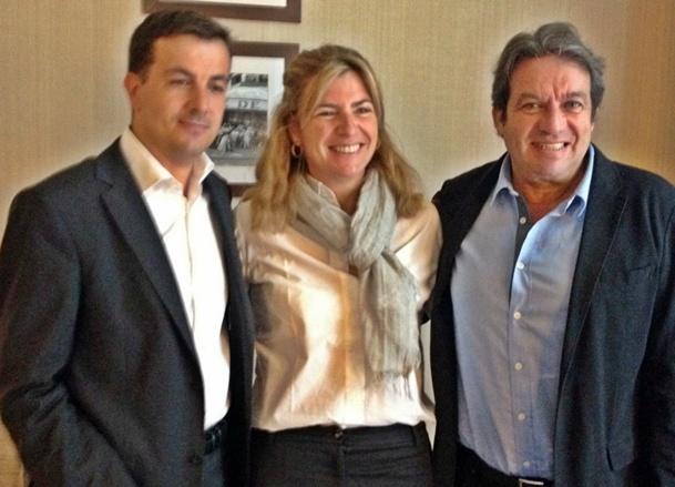 Georges Rudas, Président d'Amadeus (dte) entouré de Isabelle Falque, directrice marketing et innovation et de Frédéric Saunier, Directeur commercial /photo GB