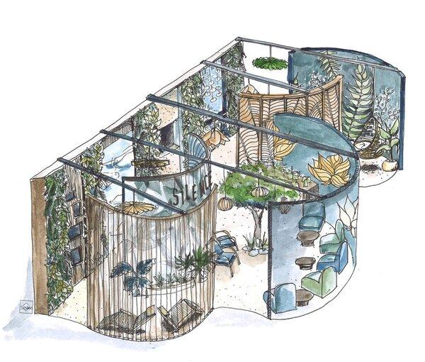 Exemple d'un espace réfléchi par l'organisme Silence. La conception architecturale des espaces expérientiels immersifs est réalisée en collaboration avec Sispeo Architectes.  Source : Silence