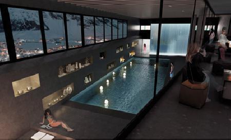 Le lobby a une vue plongeante sur la piscine du spa nuxe. ©DR/Héliopic