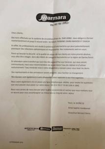 Voici le courrier individuel, remis dans les chambres des clients par Marmara - DR
