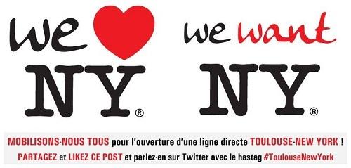 L'aéroport Toulouse-Blagnac demande aux Toulousains et aux habitants de la région de faire savoir sur les réseaux sociaux qu'ils veulent une liaison aérienne vers New York - DR