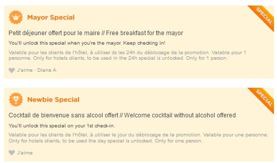 Exemples de promotions dans un établissement hôtelier