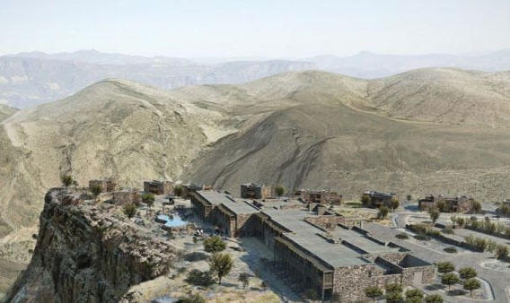 Le 1er hôtel de luxe de montagne ouvrira au 1er trimestre 2014 : l'Alila Jabal Akhdar comptera  86 suites, un spa et plusieurs piscines. ©DR
