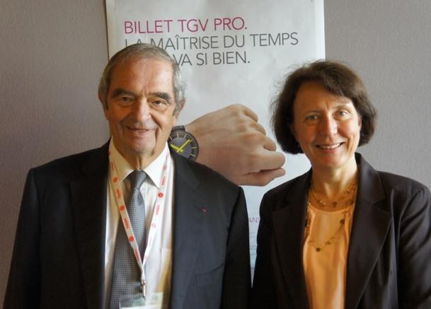 Georges Colson, président du SNAV et Barbara Dalibard, Directrice Générale de SNCF Voyages lors de la conférence de presse tenue à l'occasion de l'IFTM Top RESA - CE