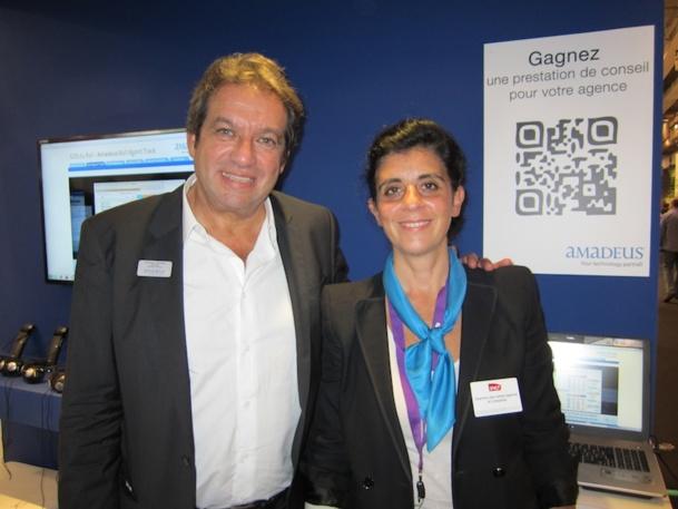 Georges Rudas, le PDG d'Amadeus et Valérie Assayag, la directrice des ventes agences de voyages et entreprises SNCF ont présenté à l'IFTM Top Résa le nouvel outil de réservation de train Agent Track. DR