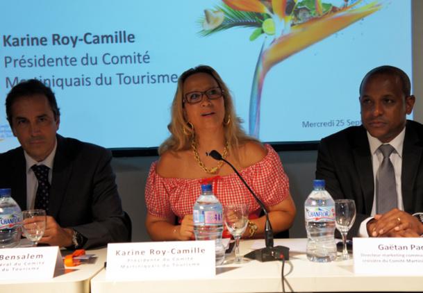 Karine Roy-Camille présidente du CMT entourée de Patrick Bensalem DG du CMT et Gaëtan Paderma Directeur marketing et communication du CMT à l'occasion de l'IFTM - Photo CE