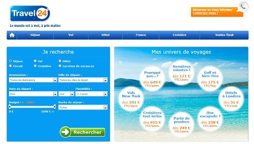 """Travel24.fr se positionne comme une agence de voyages en ligne """"multi-spécialiste"""" - Capture d'écran"""