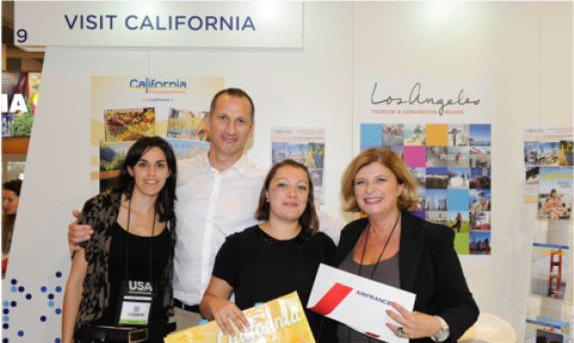 de g. à d. : Sihame Haddane (Visit California France), Christophe Liot (Air France, KLM et Delta), Elise Boisson (San Francisco Travel), Murielle Nouchy (Directrice de Visit California France)