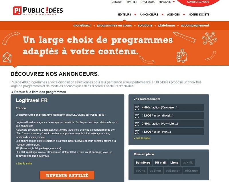 Pour mettre en place de sa stratégie en France, Logitravel a fait appel aux services de Public Idées qui a déjà développé plus de 70 programmes d'affiliation dans le secteur du tourisme.