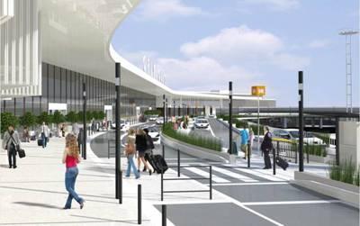 Les travaux de modernisation de l'accès routier au niveau des Départs du Terminal Ouest de Paris-Orly seront terminés en avril 2014 - Photo ADP