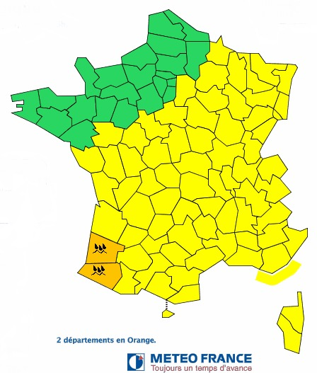 Météo France place les Landes et les Pyrénées-Atlantiques en vigilance orange aux orages - DR