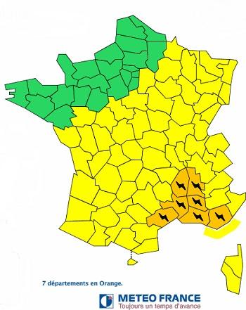 7 département de l'Hérault jusqu'au var sont en vigilance orange aux orages - Météo France