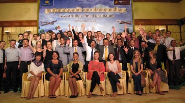 La délégation européenne au grand complet lors du meeting à Siam Reap