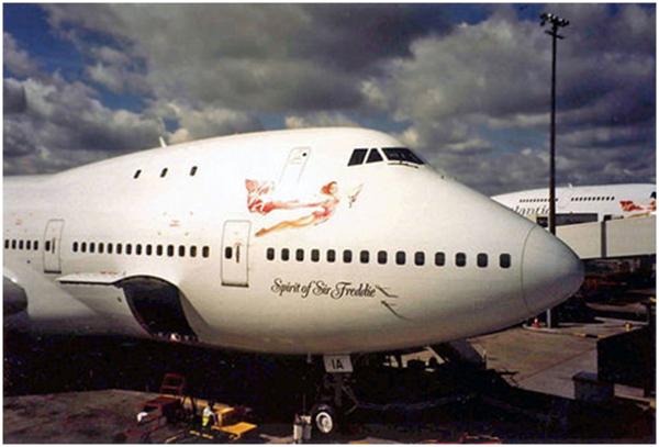 """Ce n'est pas pour rien que Richard Branson, qui a lancé Virgin Atlantic en 1982, a fait inscrire sur l'un de ses Boeing 747 : """"Spirit of Sir Freddie"""" - DR"""