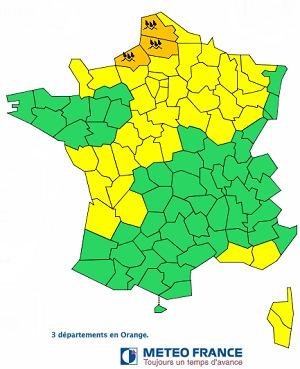 Météo France place la Somme, le Nord-pas-de-Calais et la Seine-Maritime en vigilance orange aux fortes pluies parfois orageuses - DR Météo France