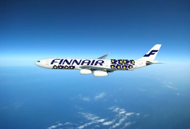 La compagnie Finnair s'est associée avec la marque de design finlandaise Marimekko pour décorer ses avions, ses textiles et sa vaisselle - Photo DR