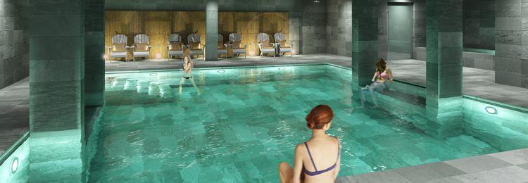 Au Fitz Roy , c'est un autre univers, l'ardoise verte joue avec le pin sablé, dans la piscine.©DR