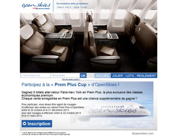OpenSkies met 5 aller-retour entre Paris et New York en jeu en cabine Prem Plus à l'occasion d'un challenge des ventes - DR
