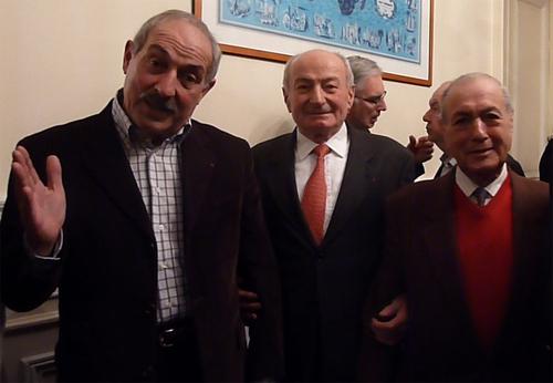 Georges Toromanof (à droite sur la photo) en compagnie de J. Perrin et C. Balderacchi, tous anciens présidents du SNAV - DR : M.S.