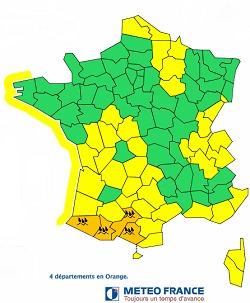 Météo France place les Pyrénées-Atlantiques (64), les Hautes-Pyrénées (65), la Haute-Garonne (31) et l'Ariège (09) en vigilance orange aux pluies - DR Météo France