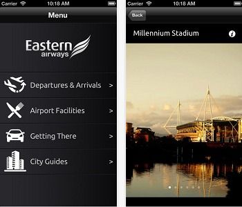 L'application mobile pour iPad et iPhone d'Eastern Airways est disponible gratuitement sur la boutique en ligne d'Apple - Capture d'écran