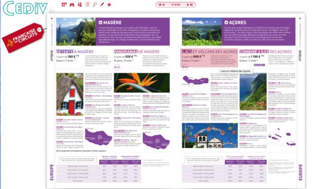 """L'e-catalogue développé par Brochuresenligne.com avec le CEDIV et Speed Media Services permet d'accéder directement aux stocks en cliquant sur le prix """"à partir de"""" - DR"""