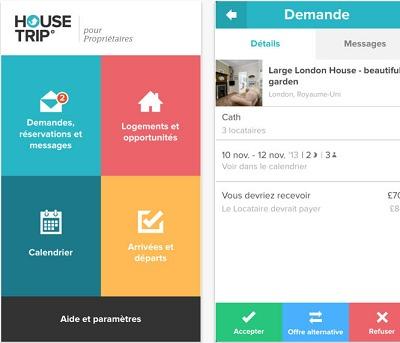 L'application HouseTrip.fr pour les propriétaires est téléchargeable gratuitement sur Apple Store - Captures d'écran