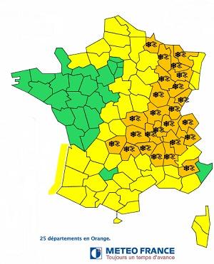 25 départements sont placés en alerte orange à la neige et au verglas par Météo France - DR