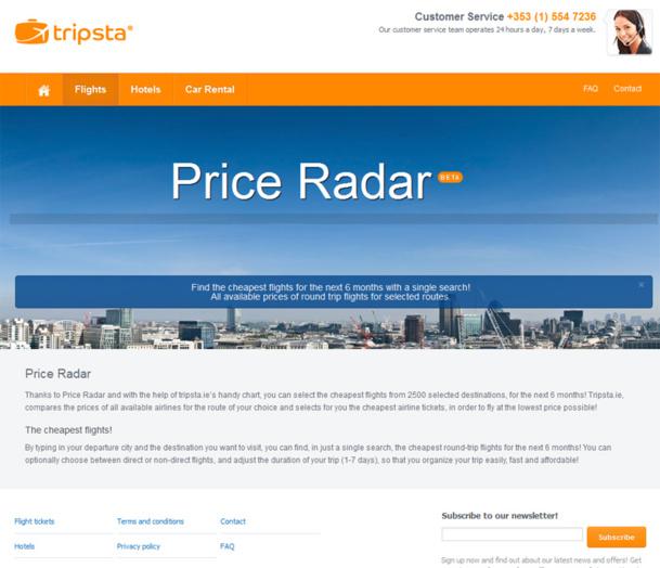 Price Radar : Tripsta veut aider les voyageurs à trouver des vols le moins cher possible