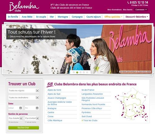 Le nouveau site Internet de Belambra affiche une interface épurée - Capture d'écran