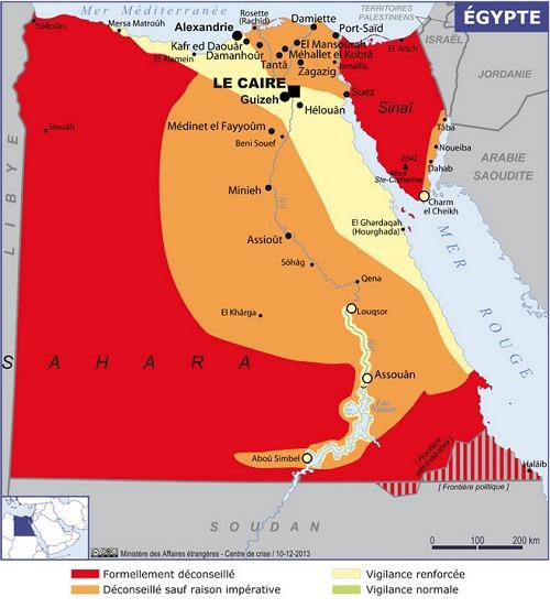 La nouvelle carte des recommandations du MAE sur l'Egypte - DR