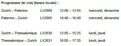 Swiss : vols vers Palerme et Thessalonique au départ de Zurich pour l'été 2014